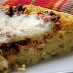 Love this recipe.  Spaghetti Pie.  ---  Never make it with cottage cheese, use ricotta.  I make with my own pasta sauce.