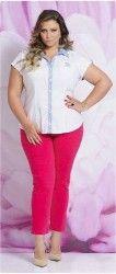 LOJA VIRTUAL PLUS SIZE www.tamanhosespeciais.com.br OUTLET Calça Skinny Color Sarja Stretch Moda Plus Size 48 50 52 54