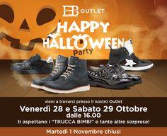 """Happy Halloween Party da EB SHOES Outlet! Vi aspettiamo venerdì 28 e sabato 29 Ottobre dalle 16.00 con tante sorprese e il """"trucca bimbi"""". Non mancate. Orari di apertura dal Martedì al Sabato (chiusi 01 Novembre): 8.30 - 12.30 e 15.30 - 19.30. Via dell'Industria 53/A - Zona Industriale Paludi, Fermo - Tel. 0734 640889 #ebshoes #kidsshoes #kidsFashion"""