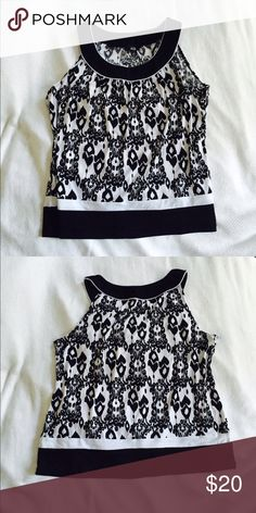 Black and White Tank Blouse Great abstract design black and white sleeveless blouse AGB Tops Blouses