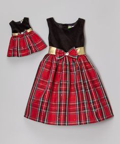 Look what I found on #zulily! Dollie & Me Black & Red Plaid A-Line Dress & Doll Outfit by Dollie & Me #zulilyfinds