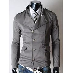 Men's Black/Gray/Beige Casual Collar Jackets