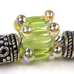 Chartreuse Ripple 5mm Large Hole Lampwork Glass Slider Bead Aurae Dots | Covergirlbeads - Jewelry on ArtFire