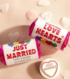 Unique and unusual wedding favours. Personalised love hearts. Find more wedding favour ideas here raspberrywedding....