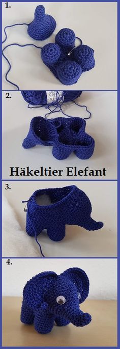 Crochet animal blue elephant, DIY instructions - Love Amigurumi Crochet animal blue elephant, DIY instructions Always aspired to learn how to knit, but not sure where to beg. Crochet Patterns Amigurumi, Amigurumi Doll, Crochet Dolls, Knitting Patterns, Crochet Hats, Crochet Flower Patterns, Crochet Flowers, Crochet Elephant, Crochet Animals