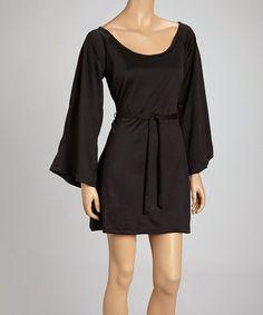 Black Bell-Sleeve Empire-Waist Dress #zulily #zulilyfinds