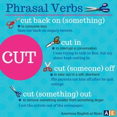 English phrasal verbs with Cut English Vinglish, English Tips, English Phrases, English Idioms, American English, English Study, English Class, English Lessons, English Grammar