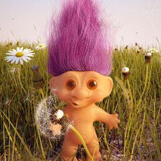 My troll doll had purple hair.
