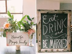 Pretty watercolor sign in a cork. eat drink and be married