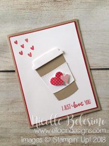 Love/Valentine's Day card made with Heart Happiness and Petal Palette stamp sets and Coffee Cups and Sweet & Sassy Framelits from Stampin' Up!  nicollebelesimo.stampinup.net