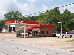 Lufkin Texas Old Small Town gas station Building and Sign