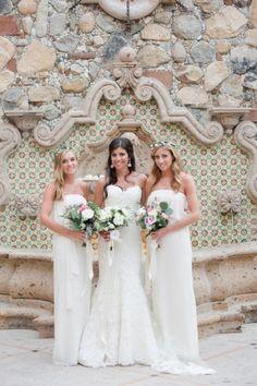 Bridesmaid Dresses, Joanna August, Flowers by: Pina Hernandez, Photo: Sara Richardson Photography - San Jose Del Cabo Wedding  http://caratsandcake.com/jacquelineandpeter