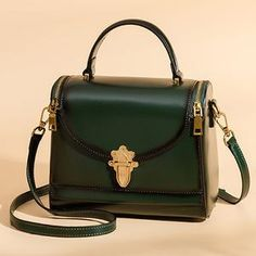 11bcaf3f5b7 Green Leather Square Satchel Handbags Purses