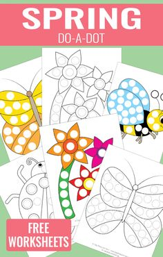 Spring Do a Dot Printables - Easy Peasy Learners Dot Painting, Painting For Kids, Art For Kids, Dot To Dot Printables, Printable Crafts, Free Printable, Easy Preschool Crafts, Crafts For Kids, Dots Free