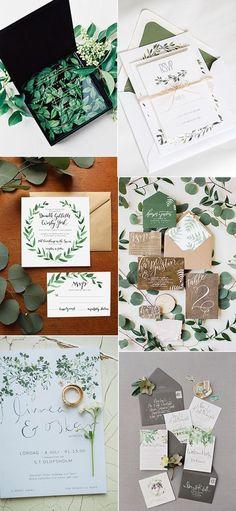 botanical greenery wedding invitations for 2017 trends