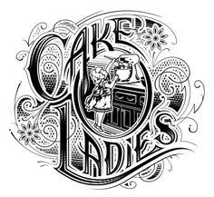 vintage cake logos   amazing Cake Ladies vintage-style logo