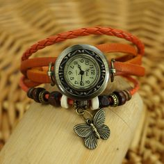 Butterfly  Leather Wrap Watch
