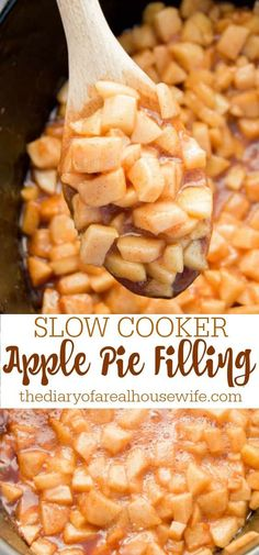 I LOVE this Slow Cooker Apple Pie Filling. We even serve it on pancakes and ice cream. Healthy Slow Cooker, Healthy Crockpot Recipes, Slow Cooker Recipes, Thanksgiving Recipes, Fall Recipes, Just Pies, Slow Cooker Apples, My Favorite Food, Favorite Recipes