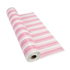 As seen in the Budget Chic table design: Pink/White Striped Tablecloth - OrientalTrading.com $21/100 foot roll