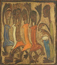 Angel Botello Oil on Board, Dancing Women
