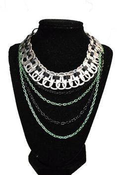 Tabulous Trendy Choker bib necklace soda pop tab recycled necklace Punk Princess LIMITED EDITION. $19.00, via Etsy.