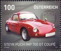 Steyr Puch IMP 700 GT Coupé Fiat 500, Steyr, Porsche 356, Turin, Jaguar, Austria, Stamp Collecting, Postage Stamps, Transportation