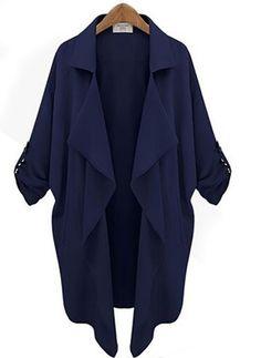 Algodão e algodão misto Damasco Azul escuro Longo Manga 3/4 Altro Coats & Casacos