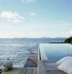 Seaside Infinity pool with wood deck - Just Nice !