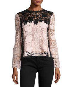 TD2UT Nanette Lepore Long-Sleeve Lace Colorblock Top, Black/Blush