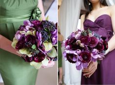 The royal purple and pastel green go so well together! I want all my bridesmaids to hold similar bouquets *^_~*