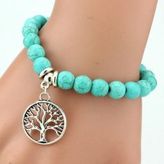Turquoise Friendship Bracelet With Silver Plated Charms – Treasure Fan