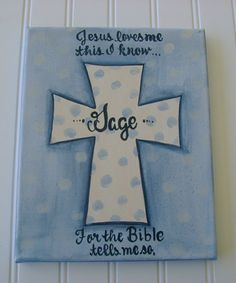 Personalized hand painted cross baby room canvas by BellaLouart, $36.00