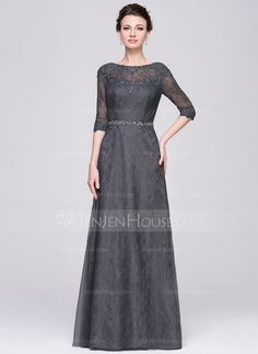 A-Line/Princess Scoop Neck Floor-Length Tulle Lace Mother of the Bride Dress With Beading Sequins (008058426)