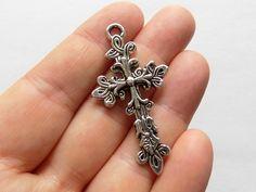 4 Cross Charms  Flower Cross Pendants  Silver by StashofCharms