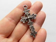 4 Cross Charms  Flower Cross Pendants  Silver by StashofCharms