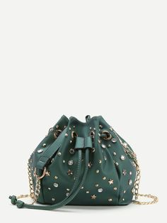 Shop Rhinestone And Star Embellished Drawstring Bucket Bag online. SheIn offers Rhinestone And Star Embellished Drawstring Bucket Bag & more to fit your fashionable needs. Green Shoulder Bags, Chain Shoulder Bag, Crossbody Shoulder Bag, Purse Crossbody, Studded Handbags, Studded Purse, Green Handbag, Green Purse, Fashion Eye Glasses