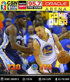 Final: Dubs go down in flames 128-119 in OT! Dubs give up a 19 point lead at the end of the 3rd quarter and ultimately end up losing in overtime. Steph scored 40 points but his offense ended up not being enough. The Warriors go to 31-6 but still lead the NBA with the best record. Next game is on the road against the Sacramento Kings this Sunday Jan 8th at 6PM Pacific Time. Watch on CSN Bay Area and listen on 95.7 The Game.