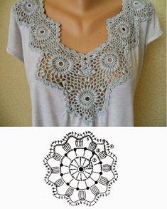 New Crochet Top Diagram Charts Granny Squares Ideas Crochet Diy, Col Crochet, Crochet Lace Edging, Crochet Fabric, Crochet Motifs, Crochet Collar, Crochet Diagram, Crochet Woman, Crochet Blouse
