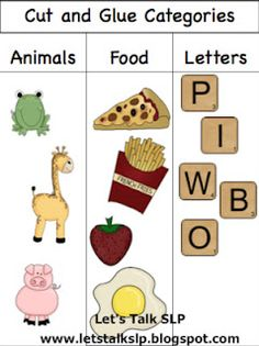 Let's Talk Speech-Language Pathology: Materials Monday - Cut and Glue Categories Preschool Literacy, Classroom Activities, In Kindergarten, Fun Activities, Classroom Ideas, Speech Therapy Activities, Language Activities, Speech Language Pathology, Speech And Language
