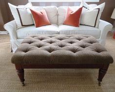 Crate and Barrel sofa with custom white cotton / linen tailored slip cover and 4 toss pillows