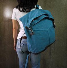 e5c15b91d6 Blue Cotton Canvas Men Women Backpack Travel Bag by Cozibag