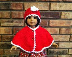 """Doll Boutique Handmade Crochet Christmas Poncho mad to fit American Girl, Kidz N Cats and similar 18"""" Dolls"""