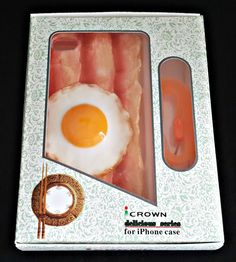 """Handmade 3D Bacon and Eggs Soft Silicone Case Skin Cover for iPhone 6 4.7"""""""