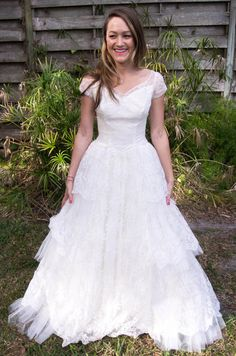 Vintage wedding dress/Vintage 1950s wedding gown/lace wedding dress/grace kelly gown. $450.00, via Etsy.