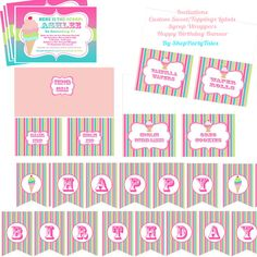 ICE CREAM PARLOR Shop Printable birthday party cupcake toppers favors tags Water bottle labels banner Thank you tags. $35.00, via Etsy.