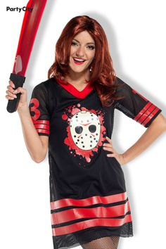 Ruin the camping trip as the machete-wielding misfit Jason Voorhees! This costume's foundation is Jason's signature machete and a hockey jersey dress. Upgrade the costume with extras, like a wig or fake blood, to fill in all the monstrous details Fake Blood, Jason Voorhees, Friday The 13th, Party Stores, Yoonmin, Costumes For Women, Ruin, Hockey, Fill