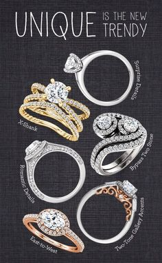 7 unique engagement ring styles that command attention Engagement Ring Buying Guide, Modern Engagement Rings, Round Diamond Engagement Rings, Engagement Ring Styles, Designer Engagement Rings, Diamond Rings, Enchanted Jewelry, Fashion Rings, Fashion Jewelry