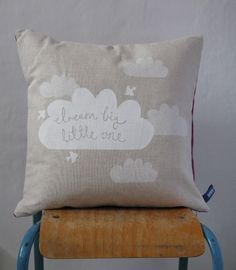 Dream Big Little One #cushion #pillow #burlap #white #clouds