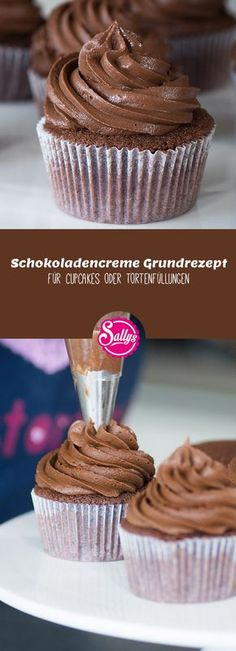 My favorite recipe for chocolate cream, which serves as a topping for cupcakes .- Mein Lieblings-Grundrezept für Schokoladencreme, welche als Topping für Cupcak… My favorite basic recipe for chocolate cream, which … - Cupcake Toppings, Cupcake Recipes, Cupcake Cakes, Fondant Cupcakes, Cupcake Frosting, Chocolate Cream, Chocolate Desserts, Cake Chocolate, Easy Smoothie Recipes