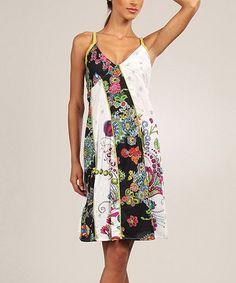 White & Black Floral Patchwork V-Neck Dress by Aller Simplement #zulily #zulilyfinds
